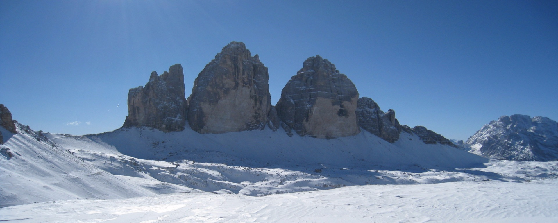Three Peaks in the Sesto Dolomites in winter