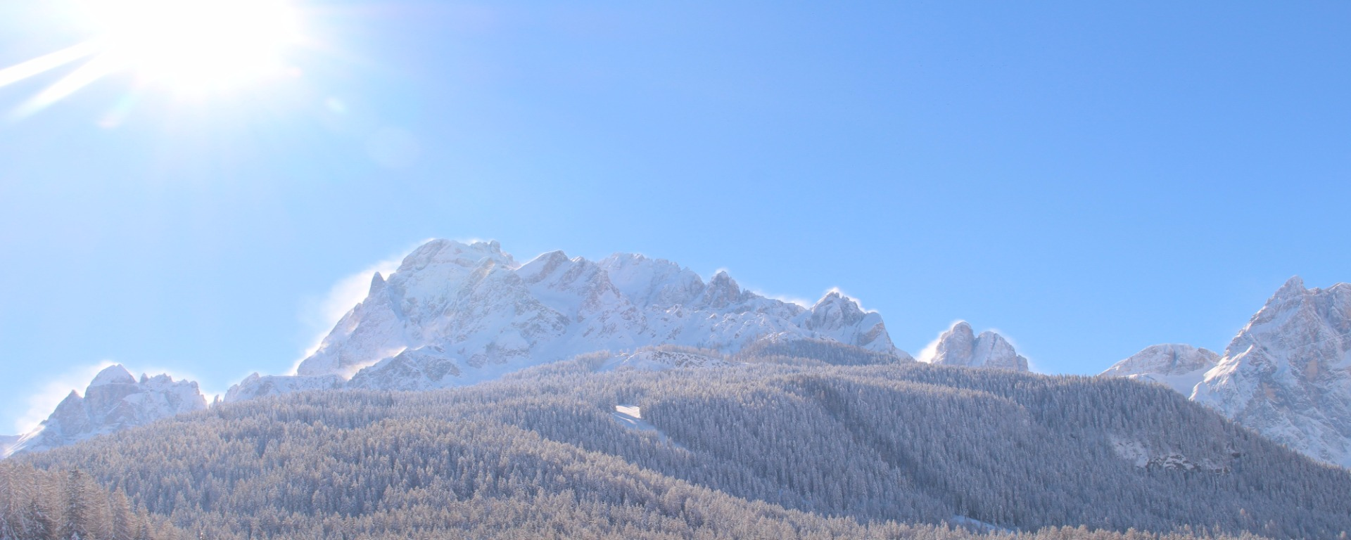 View in winter to the Sesto Dolomites