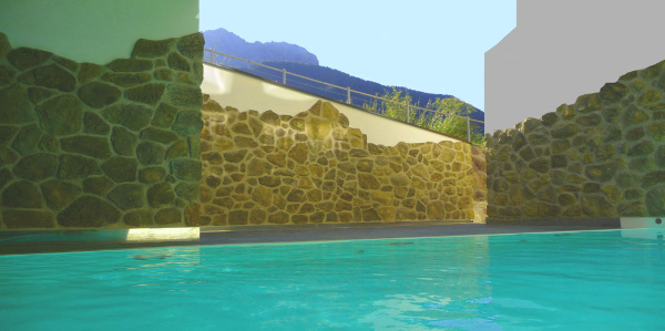 Heated outdoor pool at Sesto / Moso in Southtyrol