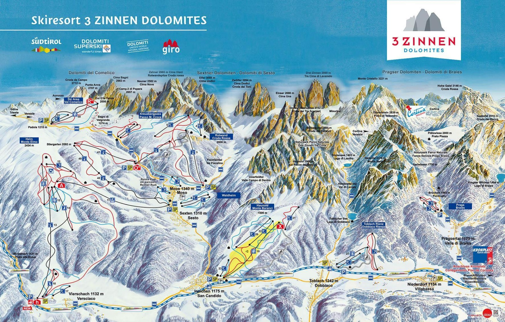 Overview of the ski resort in the heart of the Sesto / Sexten Dolomites